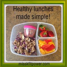 Reusable meal containers with multiple compartments make preparing healthy lunches for little ones a snap! Here's an example that follows my healthy-lunch formula of including a veggie, a fruit, a protein source and  healthy fat. I also like to throw in an extra fiber source when possible. Here's what's in it:  ~Sliced mini sweet peppers (veggie) ~Fresh whole strawberries (fruit) ~Cooked ground turkey (protein with healthy fat) ~Red cabbage (veggie/extra fiber) ~All-natural salsa (extra…