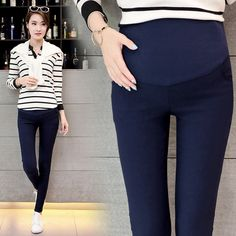 Spring Belly Skinny Maternity Legging in Elastic Cotton Adjustable Waist Pencil Pregnancy Pants Clothes for Pregnant Women Maternity Leggings, Maternity Wear, Maternity Fashion, Women's Leggings, Clothes For Pregnant Women, Clothes For Women, Pants Outfit, Workout Wear, Pregnancy Pants