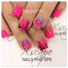 pink with ombré, zebra, and leopard nail art design Sexy Nails, Fancy Nails, Love Nails, How To Do Nails, Zebra Nails, Leopard Nails, Pink Nails, Pink Leopard, Nail Art Designs