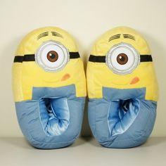 minion slipper | Despicable Me Minion Bedroom Slippers Plush Adult Small US Women's 7 8 ...