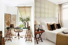 Polka dots, circle and stripes patterns+velvet, furry, and grassy textures + rustic vintage elements = a handsome home.