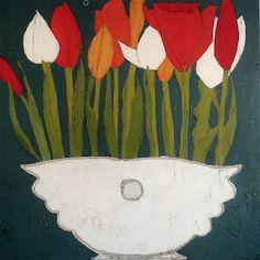 "Tulip in Art Deco Planter by Karen Tusinski, 36x36"" (sold) | Tusinski Gallery — 2 Main Street Rockport, MA 01966 978.546.2244"