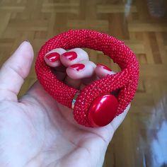 Red for love! New beaded bracelet chunky and unusual! #red #bracelets #beaded #handmadeaccessory #handmadejewellery #handmadejewelry #handmade #crochetbeads #bracelet #etsy #etsyseller #etsyshop #etsyfinds #etsysellersofinstagram #hotred
