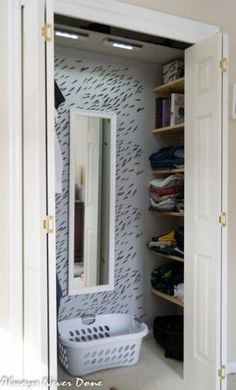 How to turn a regular closet into a walk-in; I'd consider using pull-out drawers instead of shelves, and IKEA sells horizontal pants hangers that would allow extra organization on the hanging bar Small Closet Redo, Small Master Closet, Tiny Closet, Small Closet Organization, Walk In Closet, Bedroom Organization, Small Closet Makeovers, Maximize Closet Space, Mobile Design