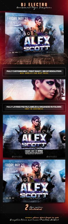 DJ Electro Horizontal Flyer Templates - Clubs & Parties Events