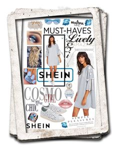 """""""SHEIN Lace Up Sleeve Dress"""" by snowflakeunique ❤ liked on Polyvore featuring adidas Originals, Lime Crime, Marc Jacobs, New Directions, Forzieri, Karen Walker, dress, adorable, shein and bowlace"""