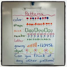 Anchor chart ideas for kindergarten math time / patterns anc Patterning Kindergarten, Kindergarten Anchor Charts, Preschool Math, Math Classroom, Kindergarten Math, Fun Math, Teaching Math, Teaching Ideas, Classroom Ideas