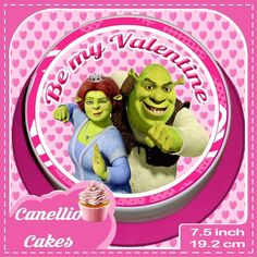 VALENTINES DAY SHREK AND FIONA 7.5 INCH PINK ROUND CAKE TOPPER  CCV010L