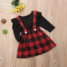 Gaono - Baby Girls Christmas Outfits Long Sleeve T-shirt With Red Plaid Suspender Dress Months - toddlerchristmasdress Baby Outfits, Kids Outfits Girls, Cute Girl Outfits, Baby Girl Dresses, Toddler Outfits, Baby Girls, Toddler Girls, Dress Outfits, Infant Dresses