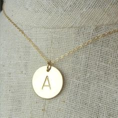 Gold Initial Necklace  Gold Letter Necklace Simple von ERiaDesigns