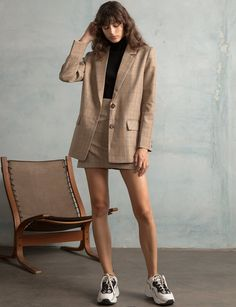 Two button tan plaid blazer with front pockets . Style this chic tartan tan blazer with a matching plaid mini skirt and acne statement sneakers . Plaid Blazer, Blazer Outfits, Blazer Fashion, Fashion Outfits, Womens Fashion, Casual Blazer, Fashion 2017, Fashion Clothes, Classy Outfits