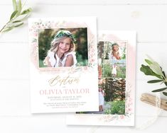 LDS Baptism Invitation | LDS Baptism Invitation Girl | Baptism Invitation | LDS Baptism Announcement | Baptism Invitations Girl | Photoshop Baptism Program, Baptism Invitations Girl, Baptism Announcement, Girl Baptism, Heart Designs, Photoshop Elements, Lds, Special Day, Holiday Cards