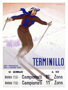 Giclee Print: Terminillo, Women Snow and Ski Art Print by Giuseppe Riccobaldi by Giuseppe Riccobaldi : Vintage Ski Posters, Cool Posters, Vintage Prints, Modern Posters, Sports Posters, Snow Skiing, Retro Design, Snowboarding, Giclee Print