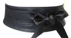 Black Obi Belt  Leather wrap Belt  Waist tie belt  by LoveYaaYaa