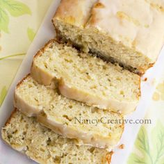 Lemon-Zucchini Loaf with Lemon Glaze | NancyCreative - loved the eggnog bread from this site & looking forward to trying this