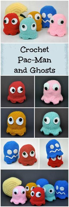 Pac-Man and his ghosts! This started as a project to just crochet Pac-Man. Then this expanded to making the ghosts, then to making the ghosts with movable eyes, and lastly to adding in covers to make the ghosts switch to dark blue. I am most pleased with how the ghosts turned out. Hope you enjoy!