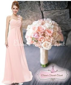Pink One Shoulder Corsage Chiffon Maxi Prom Evening Bridesmaid Dress