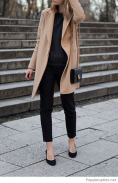 black-pants-and-blouse-with-a-nude-coat-and-more