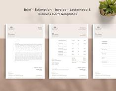 Invoice Estimate Business Card Brief Letterhead Corporate Stationary, Corporate Identity, Brand Identity, Branding, Printable Invoice, Invoice Template, Templates, Letterhead Business, Business Cards