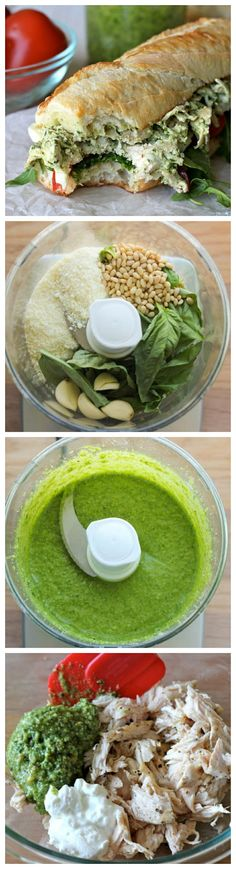 Chicken Pesto Sandwich - Lightened up with Greek yogurt, this hearty sandwich is one of the quickest, most tastiest meals