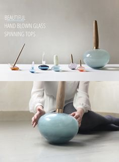 Crafts for Kids Fun Crafts To Do, Crafts For Kids, Art Et Design, Graphic Design, Modern Bohemian Decor, Spinning Top, Wooden Tops, Hand Blown Glass, Wood Turning