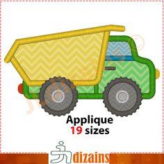 Dump truck applique design. Machine embroidery design -INSTANT DOWNLOAD- 19 sizes. Dump truck embroidery design. Truck applique design. BX by JLdizains on Etsy