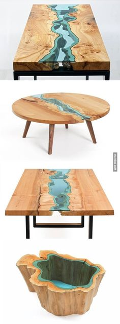wood tables embedded with glass rivers 2 - Wood Design Driftwood Furniture, Driftwood Table, Resin Furniture, Wooden Furniture, Cool Furniture, Furniture Design, Furniture Ideas, Furniture Dolly, Furniture Logo