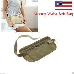 Waist Belt Bag Travel Pouch For Hidden ID Passport Security Money Compact Safety * Check this awesome product by going to the link at the image. (This is an affiliate link) New Travel, Travel Style, Travel Bags, Passport Card, Waist Pouch, Travel Accessories, Compact, Safety, Belt