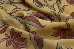 a softer yellow with tulip design - kalamkari thats not so traditional