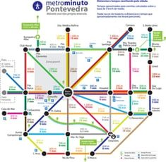 """""""This may look like a transit map, but it's actually a map of typical walking times & distances in the walkable, car-free Spanish city of A clever idea that every city should steal. Sustainable Transport, Bons Plans, City Life, Wind Turbine, Transportation, Spanish, Paradise, 1, Soundtrack"""