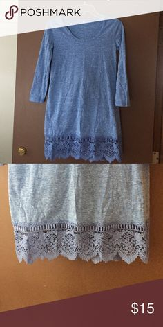 NWOT Blue shift dress marled knit crochet lace NWOT Blue shift dress marled knit with 3/4 sleeve and crochet lace border in size xsmall, never been worn. Arms are tight to fit an XS Dresses Long Sleeve