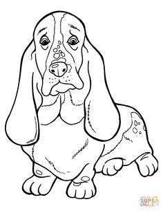 basset hound coloring page free printable coloring pages pertaining to free printable basset hound coloring pages Puppy Coloring Pages, Colouring Pics, Adult Coloring Pages, Coloring Books, Kids Coloring, Basset Hound Puppy, Dachshund Dog, Dog Cat, Dog Quilts