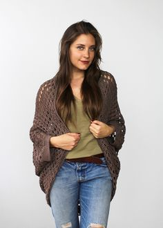 Make this gorgeous cocoon cardi by Two of Wands with Lion Brand 24/7 Cotton! Free crochet pattern!