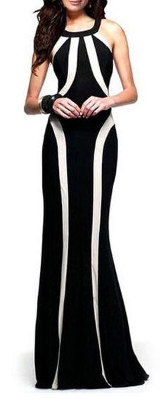 Love Love LOVE this Dress! Scoop Neck Black and White Stripe Backless Sleeveless Dress #Sexy #Black #White #Stripe #Maxi #Dress #Fashion