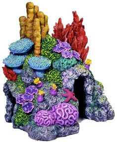 $12.55-$15.99 Exotic Environments Red Sea Hide-Away Aquarium Ornament is made with durable poly resin material safe for use in all aquariums, Ex Small, 6 inch by 5 inch by 6-1/2 inch Arte Coral, Coral Art, Fish Tank Themes, Cartoon Sea Animals, Clay Fish, Mermaid Crafts, Mermaid Theme Birthday, Aquarium Ornaments, Aquarium Design