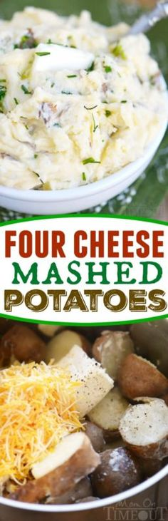 Four Cheese Mashed Potatoes recipe - extra creamy and delicious, these potatoes are the perfect side to any meal! Cheese Mashed Potatoes, Mashed Potato Recipes, Potato Dishes, Side Dish Recipes, Veggie Recipes, Cooking Recipes, Crockpot, Snacks, Vegetable Side Dishes