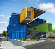 Box Office.  A Shipping Container Prefab Sustainable Green Office Building.  Mid-rise Shipping Container Architecture.