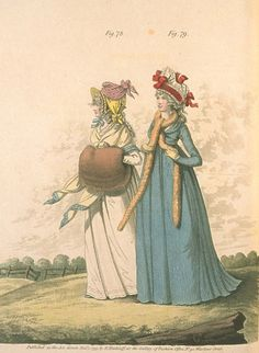 Gallery of Fashion, December 1795. Nice headwear, and I'm kinda obsessed with that blue gown…