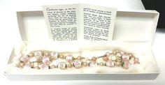 Venetian Aventurine Murano Glass Wedding Cake Bead Pink Rose Necklace Earring #Murano #Choker