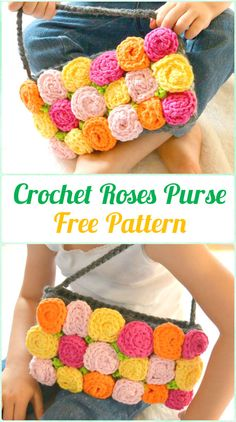 Crochet Roses Purse Free Pattern - Crochet Kids Bags Free Patterns