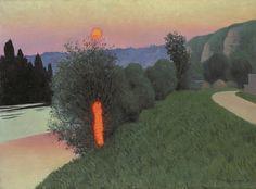 Felix Vallotton - Nabi Period - Sunset on the river.