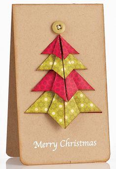 Origami Tree Card by @Agata Pfister-Siuda #Christmas
