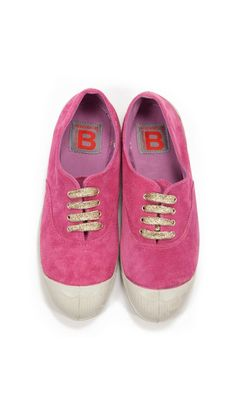 Rose colored suede sneaks (glittery gold laces)!
