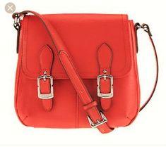 79f0b38cbe Tignanello Piega Leather North South Flap Crossbody Messenger Bag Poppy 9 x  8.5  Tignanello
