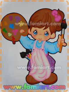 Niña pintando con mandil - Fomiart Art Rules, Precious Moments, Paper Piecing, Diy Cards, Classroom Decor, Smurfs, Paper Art, Projects To Try, Preschool