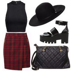 Per una serata all'insegna della musica rock. Maglia sbracciata nera stretta e corta, gonna a scacchi rossa e nera, scarpe nere alte ed aperte, borsa nera a tracolla e cappello nero per essere più stilose.