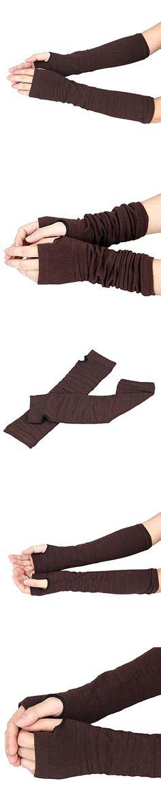 Long Fingerless Gloves,Morecome Winter Wrist Arm Hand Warmer Knitted Mitten (Coffee)