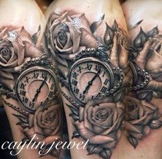 Caylin Jewel | Realistic roses and pocket watch tattoo | Women's half sleeve | By Jerry @ Urban's Tattoo in Arlington, TX | Memorial Tattoo