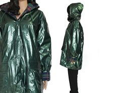 Green Metallic PVC Rain Coat Shiny Vinyl and Purple by KatrajinaCo, $56.00