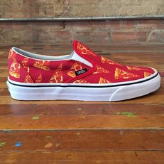 Pizza vans Red/ pizza/ slip on great condition Vans Shoes Sneakers